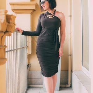 Dresses & Skirts - Brown One Shoulder Ruched Slinky Midi Dress